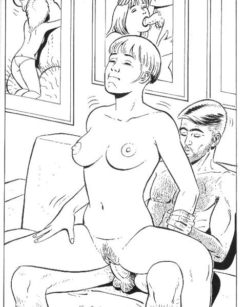Черно – белый мультик с привлекательной женой, трахающейся на кровати